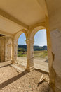 Arches of derelict agios georgios church davlos cyprus image taken in spring Royalty Free Stock Images