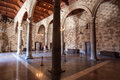 Arches medieval castle rhodes island the and columns inside a large room of the of greece Royalty Free Stock Photos