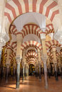 Arches of the mosque in cordoba spain Royalty Free Stock Images