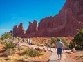 Arches national park people walking in the in moab utah Royalty Free Stock Photos