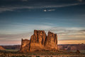 Arches national park utah the courthouse towers at at sunrise in july Stock Photos