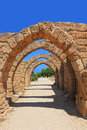Arches of the old crusaders town caesarea israel Royalty Free Stock Photography