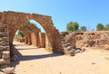 Arches of the old crusaders town caesarea israel Royalty Free Stock Image