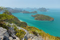 Archipelago at the angthong national marine park in thailand ang thong viewed from above high a rocky hill Stock Photography