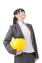 Architect asian business woman looking up engineer entrepreneur or isolated on the white background Stock Photography