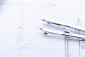 Architect blueprints equipment objects workplace paper office Stock Photography