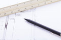 Architect blueprints equipment objects workplace paper office Stock Photos