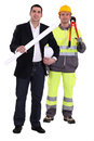 Architect and builder working together Stock Image