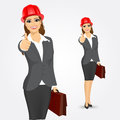 Architect business woman with briefcase Royalty Free Stock Photo