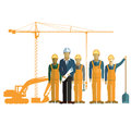 Architect and construction crew on site Royalty Free Stock Photo