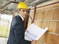 Architect in construction site Stock Photos