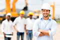 Architect at a construction site male looking happy Royalty Free Stock Images