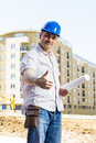 Architect at construction site portrait of smiling Royalty Free Stock Images