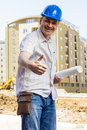 Architect at construction site portrait of smiling Stock Photos