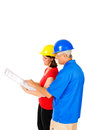 Architect and contractor female male looking at building plans isolated on white Stock Image