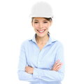 Architect engineer or entrepreneur business woman portrait of smiling happy proud and confident young female multiracial asian Royalty Free Stock Image