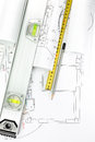 Architect or engineer plans and tools zigzag ruler spirit level pen architectural drawings Stock Photo