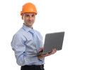 Architect in helmet with laptop isolated on white background Royalty Free Stock Photography