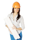 Architect holds drafts an in an orange helmet Royalty Free Stock Photo