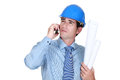 Architect making call on cellphone Royalty Free Stock Photography