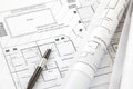 Architect rolls and plans architectural plan Stock Images