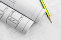 Architect rolls and plans, construction plan drawing and pencil Royalty Free Stock Photo