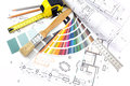 Architect s work tools on architectural background with technical drawings color samples and Royalty Free Stock Image