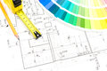 Architect s work tools architectural drawings of the modern house and color samples catalog Stock Photos