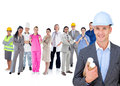 Architect standing in front of different types of workers on white background Stock Photography