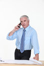 Architect taking a telephone call an important Royalty Free Stock Photography