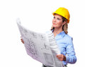 Architect woman with a plan. Royalty Free Stock Image