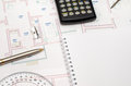 Architect's workspace with plan and pencil, calculator, ruler, Royalty Free Stock Photo