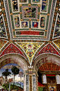 Architectonic detail ceiling decorations in the piccolomini library of the duomo in siena Royalty Free Stock Photo