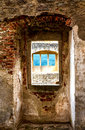 Architectonic detail windows of medieval castle ruins in south bohemia Royalty Free Stock Image