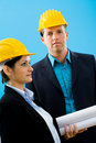 Architects in hardhat Stock Photo