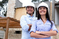 Architects with a house project Stock Photo