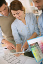 Architects standing in office and working together team of Royalty Free Stock Photo