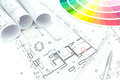 Architectural background with color architect s and designer s work space during work technical drawing and samples Royalty Free Stock Photos