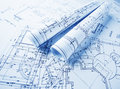 Architectural blueprints rolls part of project Royalty Free Stock Image