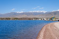 Architectural complex on bank of Issyk-Kul Lake Royalty Free Stock Photo