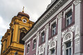 Architectural detail details of historic buildings in union square timisoara romania Royalty Free Stock Photo