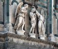 Architectural detail in florence showing some angel sculptures italy Royalty Free Stock Photos