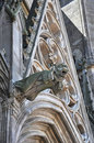 Architectural detail of a gothic cathedral with gargoyle in france Royalty Free Stock Photo