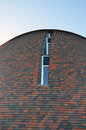 Architectural detail of rounded brick building Royalty Free Stock Photo