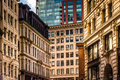 Architectural details of buildings in Boston, Massachusetts. Royalty Free Stock Photo