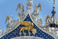 Architectural details of Doge s Palace, Venice, Italy-Winged lion Royalty Free Stock Photo