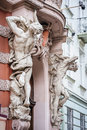 Architectural details of lvov lviv ukraine statues near entrance Royalty Free Stock Image