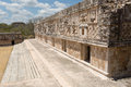 Architectural details of the nunnery building in uxmal puuc style maya architecture quadrangel yucatan mexico Royalty Free Stock Images