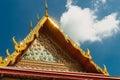 Architectural details of palace at Wat  Phra Kaew temple, Bangkok, Thailand. Royalty Free Stock Photo