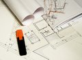 Architectural drawings, blueprints, city planning Royalty Free Stock Photos